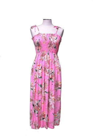 Tube Dress Pink / Midi Blooming Orchid Hawaiian Tube Dress