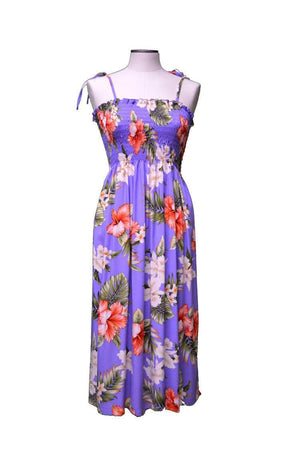 Mid-Length Tube Dress Purple / Midi Majestic Hibiscus Hawaiian Tube Dress