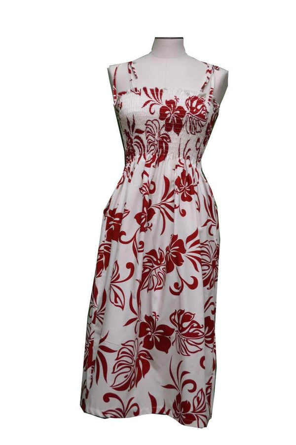 Tube Dress Red / Midi Aloha Spirit Hawaiian Tube Dress
