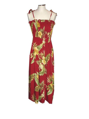 Tube Dress Red / Midi Wild Hibiscus Hawaiian Tube Dress