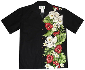 Hawaiian Shirt S / Black Anthurium and Orchid Hawaiian Panel Shirt