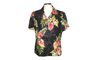 Girl's Hawaiian Blouse S / Black Anthurium Flowers Girl's Hawaiian Blouse