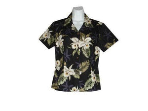 Girl's Hawaiian Blouse S / Black Classic Orchid Girl's Hawaiian Blouse