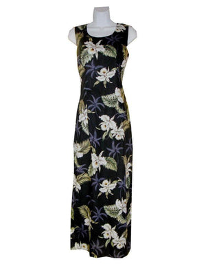 Long Tank Dress S / Black Classic Orchid Long Tank Hawaiian Dress