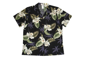 Hawaiian Blouse S / Black Classic Orchid Women's Hawaiian Shirt