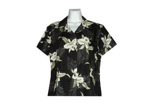 Girl's Hawaiian Blouse S / Black Garden Orchid Girl's Hawaiian Blouse