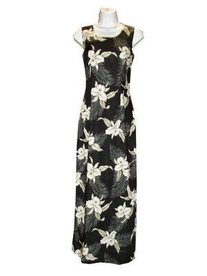 Long Tank Dress S / Black Garden Orchid Long Tank Hawaiian Dress