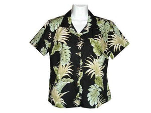 Girl's Hawaiian Blouse S / Black Hawaiian Leaves Girl's Hawaiian Blouse