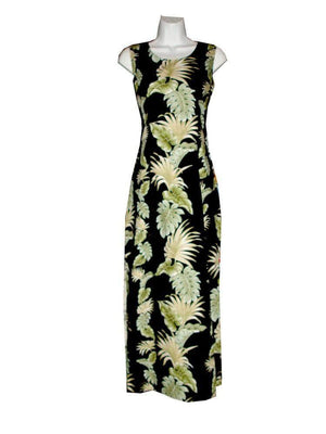 Long Tank Dress S / Black Hawaiian Leaves Long Tank Hawaiian Dress
