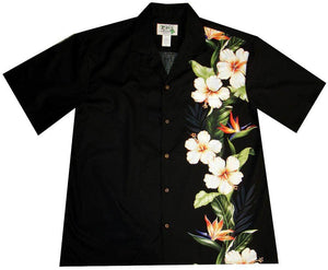 Hawaiian Shirt S / Black Hibiscus and Bird of Paradise Hawaiian Shirt