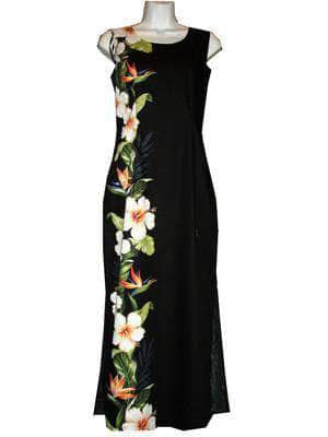 Long Tank Dress S / Black Hibiscus and Bird of Paradise Long Tank Hawaiian Dress