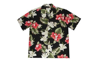Hawaiian Shirt S / Black Hibiscus and Orchid Hawaiian Shirt