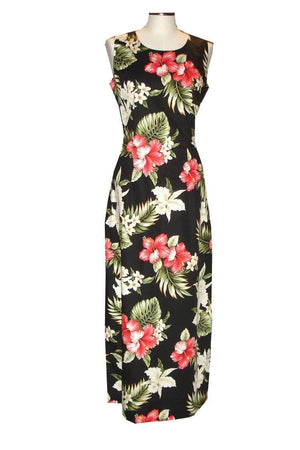 Long Tank Dress S / Black Hibiscus and Orchid Long Tank Hawaiian Dress