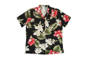 Hawaiian Blouse S / Black Hibiscus and Orchid Women's Hawaiian Shirt