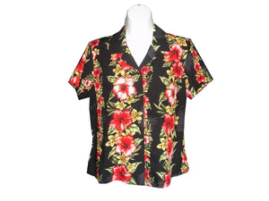 Girl's Hawaiian Blouse S / Black Hibiscus Floral Panel Girl's Hawaiian Blouse
