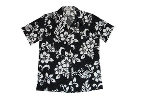 Hawaiian Blouse S / Black Hibiscus Silhouette Women's Hawaiian Shirt