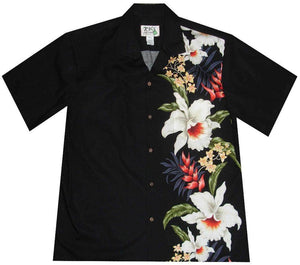 Hawaiian Shirt S / Black Macaw Flower and Orchid Hawaiian Panel Shirt