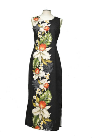 Long Tank Dress S / Black Orchid and Plumeria Side Panel Hawaiian Long Tank Dress