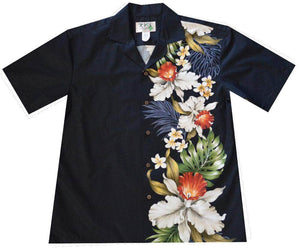 Hawaiian Shirt S / Black Orchid and Plumeria Side Panel Hawaiian Shirt
