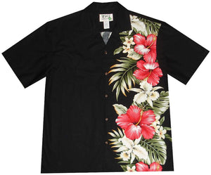Hawaiian Shirt S / Black Red Hibiscus and Orchid Hawaiian Panel Shirt