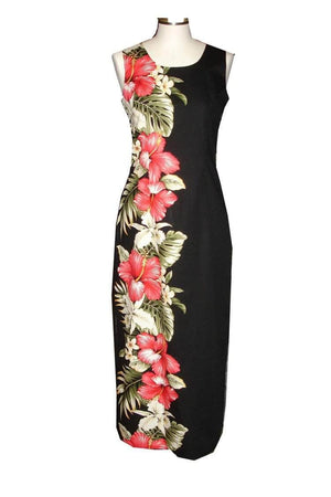 Long Tank Dress S / Black Red Hibiscus and Orchid Long Tank Hawaiian Dress