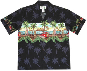 Hawaiian Shirt S / Black Tiki and Woody Hawaiian Shirt
