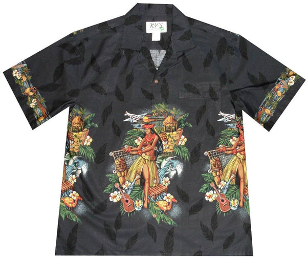 Hawaiian Shirt S / Black Tropical Hula Dance Hawaiian Shirt