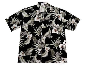 Hawaiian Shirt S / Black Vintage Orchid Hawaiian Shirt