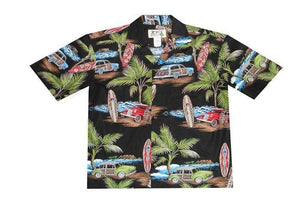 Hawaiian Shirt S / Black Woody Surf Hawaiian Shirt