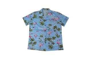 Hawaiian Blouse S / Blue Flamingo Fever Women's Hawaiian Shirt