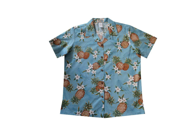 Hawaiian Blouse S / Blue Pineapple Mania Women's Hawaiian Shirt