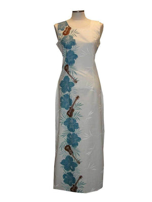 Long Tank Dress S / Blue Ukulele Passion Long Tank Hawaiian Dress