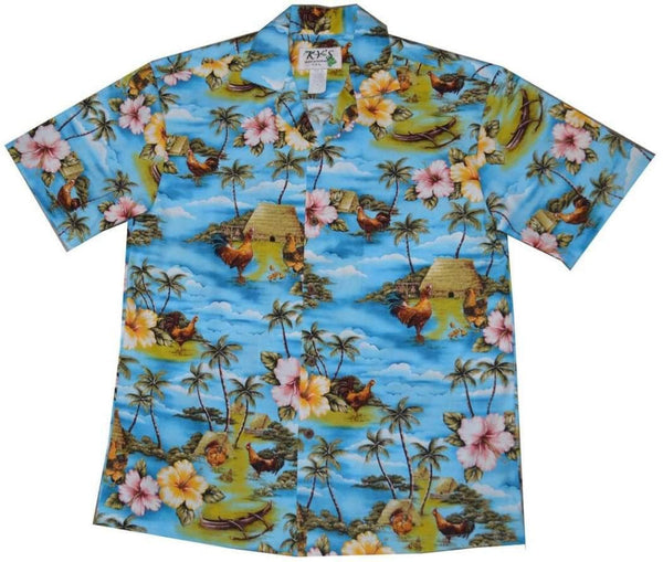 KY's Blue Wild Rooster Hawaiian Shirt.