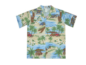 Boy's Hawaiian Shirts S / Blue Woody and Surfboard Boy's Hawaiian Shirt