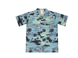 Boy's Hawaiian Shirts S / Blue World War 2 Planes Boy's Hawaiian Shirt