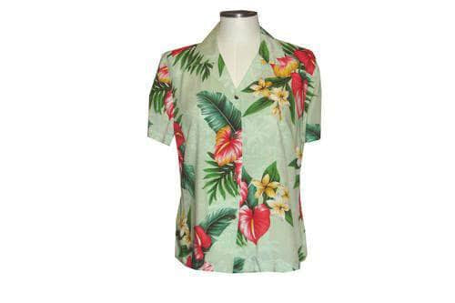 Girl's Hawaiian Blouse S / Green Anthurium Flowers Girl's Hawaiian Blouse