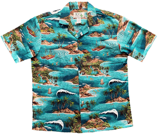 Hawaiian Shirt S / Green Big Wave Expadition Hawaiian Shirt
