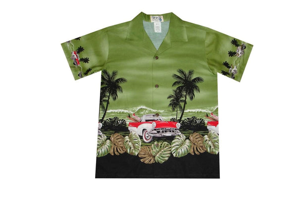 Boy's Hawaiian Shirts S / Green Classical Car Boy's Hawaiian Shirt