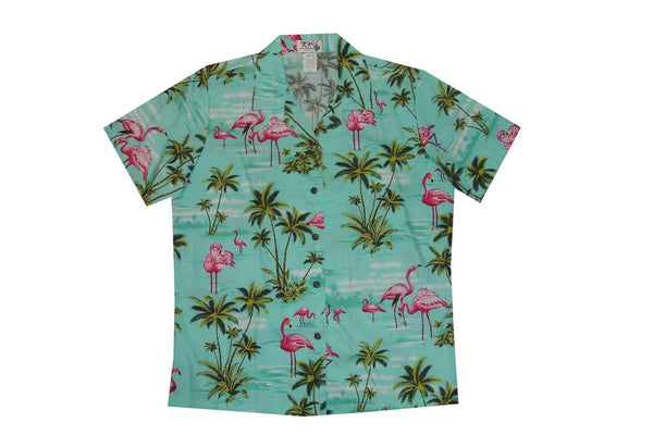 Hawaiian Blouse S / Green Flamingo Fever Women's Hawaiian Shirt