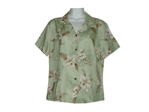 Girl's Hawaiian Blouse S / Green Garden Orchid Girl's Hawaiian Blouse
