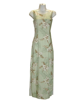 Long Tank Dress S / Green Garden Orchid Long Tank Hawaiian Dress