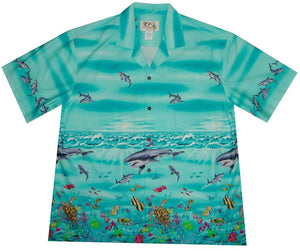 Hawaiian Shirt S / Green Great White Shark Hawaiian Shirt