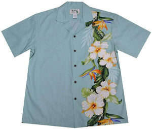 Hawaiian Shirt S / Green Hibiscus and Bird of Paradise Hawaiian Shirt