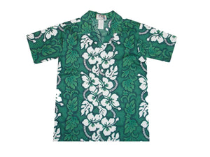 Boy's Hawaiian Shirts S / Green Hibiscus Lei Boy's Hawaiian Shirt