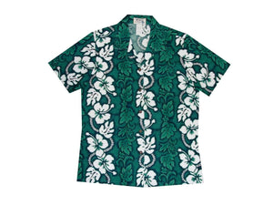 Hawaiian Blouse S / Green Hibiscus Lei Women's Hawaiian Shirt