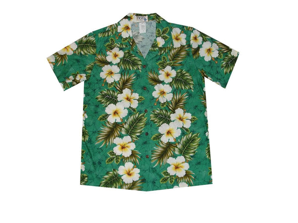 Hawaiian Blouse S / Green Hibiscus Panel Women's Hawaiian Shirt
