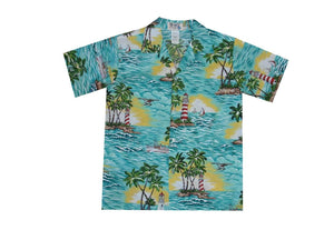 Boy's Hawaiian Shirts S / Green Lighthouse Wave Boy's Hawaiian Shirt