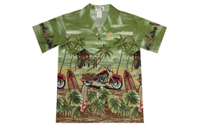 Boy's Hawaiian Shirts S / Green Motorcycle and Surfboard Boy's Hawaiian Shirt