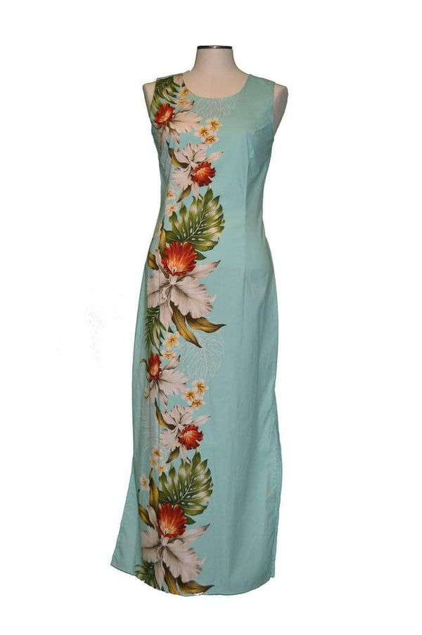 Long Tank Dress S / Green Orchid and Plumeria Side Panel Hawaiian Long Tank Dress