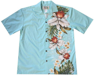 Hawaiian Shirt S / Green Orchid and Plumeria Side Panel Hawaiian Shirt